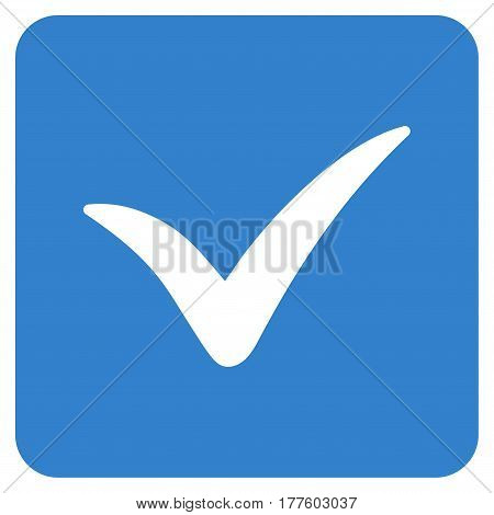 Approve Box vector icon. Flat cobalt symbol. Pictogram is isolated on a white background. Designed for web and software interfaces.