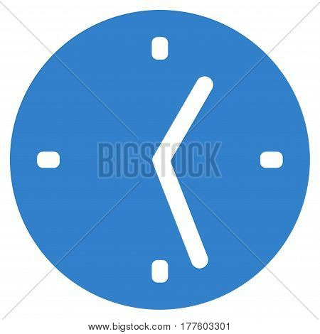 Clock vector icon. Flat cobalt symbol. Pictogram is isolated on a white background. Designed for web and software interfaces.