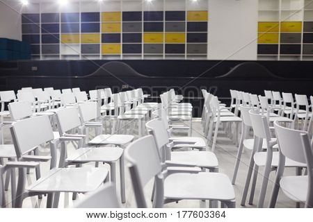 Empty conference-hall in modern educational institution