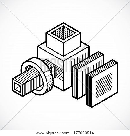 Isometric Abstract Vector Dimensional Shape, Polygonal Figure