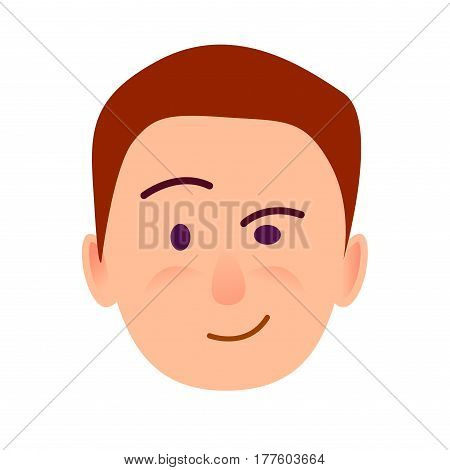 Brunette boy with distrustful look flat art icon on white background. Leer face of male. Conceived the idea. Vector illustration of character and face emotions in cartoon style hand drawn pattern.