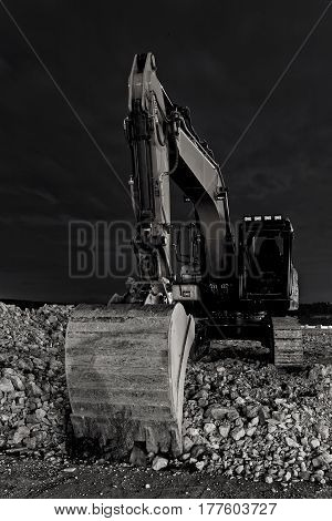 close up excavator at night front view