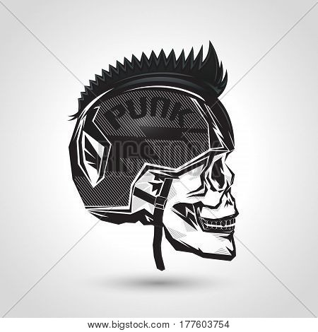punk helmet head skull design on gray background