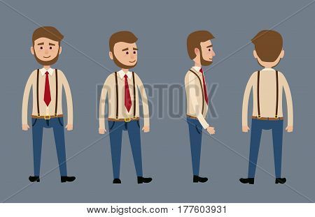 Cartoon male bearded character in jeans with suspenders, red tie and shirt isolated on dark blue background. Man stands in full face, in profile, by half and back. Vector illustration of human model.