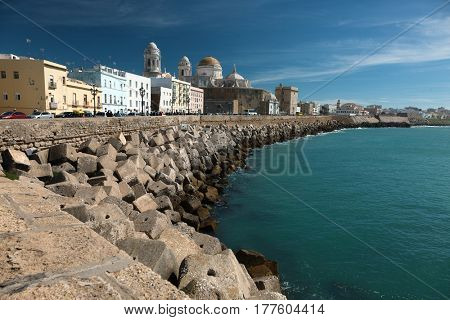 Cadiz, Spain. Seaside view including local cathedral.