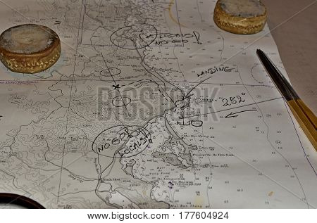 The map for landing and finding treasures