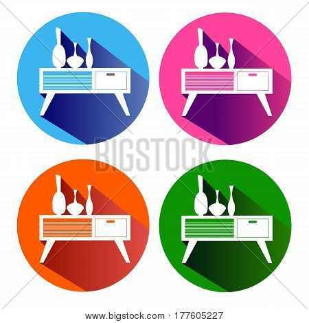 wood illustration furniture vector cupboard vase nightstand