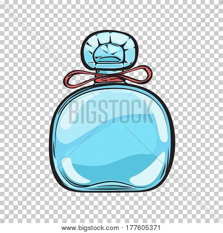 Blue glass bottle of expensive perfume with small red bow and carved lid isolated on transparent background. Trendy smell in refined container. Vector illustration of pleasant women aromatic mean.