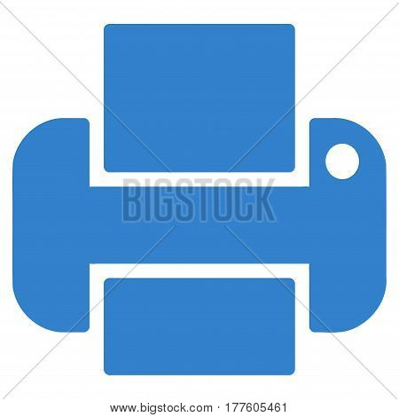 Printer vector icon. Flat cobalt symbol. Pictogram is isolated on a white background. Designed for web and software interfaces.