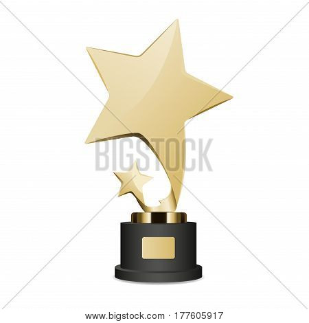 Golden trophy cup with large and small star graphic icon. Vector illustration of realistic trophies isolated on white. Gold reward on black base with nameplate. Hand drawn pattern cartoon style flat design.