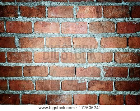 Old Grunge Brick Wall Background With Vignetted Corners,