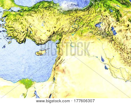 Middle East On Realistic Model Of Earth