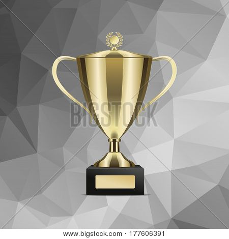 Golden shiny trophy cup for win with cover isolated on abstract background. Tournament prizes for first place vector illustration. Goblet for contest participation. Award for outstanding achievement.