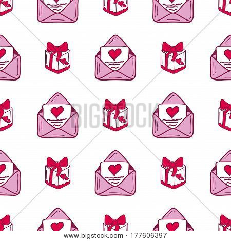 Simple red heart mail sharp vector seamless pattern and pink gift color card beautiful celebrate bright emoticon symbol holiday abstract art decoration. Romance shape design love amour.