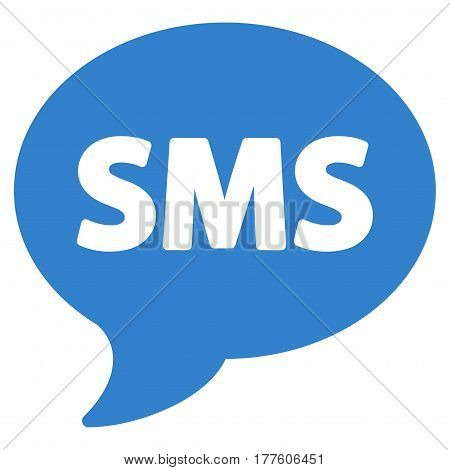 SMS vector icon. Flat cobalt symbol. Pictogram is isolated on a white background. Designed for web and software interfaces.
