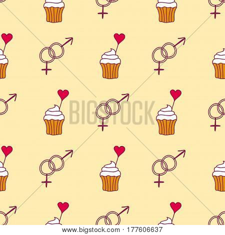 Simple red heart cupcake sharp vector seamless pattern and pink gift color card beautiful celebrate bright emoticon symbol holiday abstract art decoration. Romance shape design love amour.