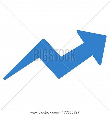 Trend Up Arrow vector icon. Flat cobalt symbol. Pictogram is isolated on a white background. Designed for web and software interfaces.