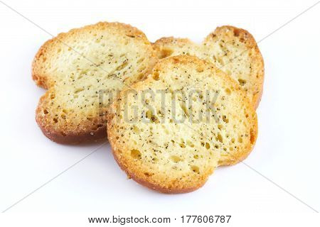 Round Rusks With Spices Isolated On White Background