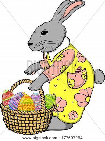 Easter Bunny with basket of eggs cartoon, bunny, cute