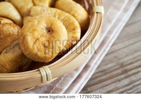 Dried Figs In Woven Basket