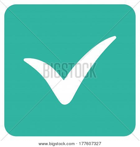 Approve Box vector icon. Flat cyan symbol. Pictogram is isolated on a white background. Designed for web and software interfaces.