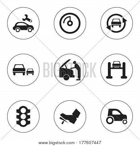 Set Of 9 Editable Vehicle Icons. Includes Symbols Such As Treadle, Vehicle Car, Car Fixing And More. Can Be Used For Web, Mobile, UI And Infographic Design.
