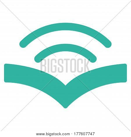Audiobook vector icon. Flat cyan symbol. Pictogram is isolated on a white background. Designed for web and software interfaces.