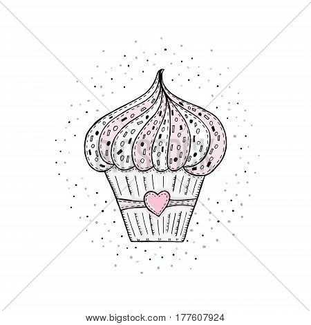 Hand drawn Sketches of scrumptious cupcakes vector print.