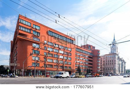 MOSCOW - AUGUST 19 2016: The building of Ministry of Agriculture a monument of architecture of Constructivism an object of cultural heritage. Was built in 1933 by famous arcitect Alexey Shchusev.