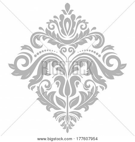 Elegant silver ornament in the style of barogue. Abstract traditional pattern with oriental elements