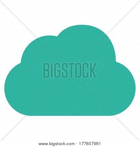 Cloud vector icon. Flat cyan symbol. Pictogram is isolated on a white background. Designed for web and software interfaces.