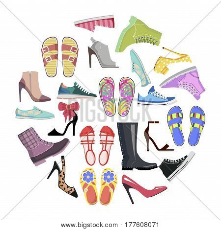Collection of shoes in round frame banner isolated vector. Footgear for hot summer, warm spring, rainy autumn and cold winter. Elegant stilettos, running sneakers, casual flip-flops and warm boots.