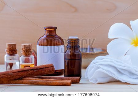 Natural Spa Ingredients And Bottle Of Herbal Extract Oil For Alternative Medicine And Aromatherapy.