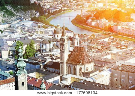 View over old town in Salzburg from Hohensalzburg castle Austria
