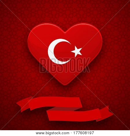 Red heart with turkish flag white star and crescent. Greeting card flyer poster for National Day of Turkey. Colorful template with ribbon for celebrations. Patriotic vector illustration