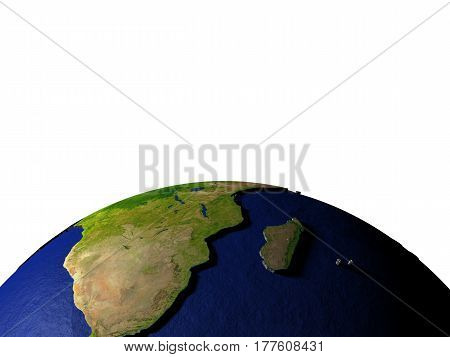 South Africa On Model Of Earth With Embossed Land