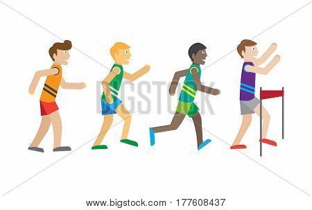 Running competition. Runners near the finish. Best athlete wins the race. Active men jogging sign symbol icons. Healthy way of life and sport concept. Young athlete joggers. Athletics. Vector