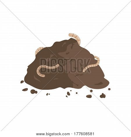 Worms in compost. Earthworms on a pile of ground. Vector illustration flat design