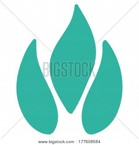 Fire vector icon. Flat cyan symbol. Pictogram is isolated on a white background. Designed for web and software interfaces.