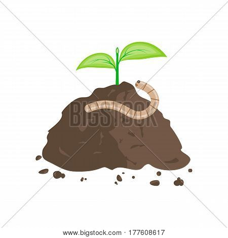 Earthworm on a pile of ground. Vector illustration flat design