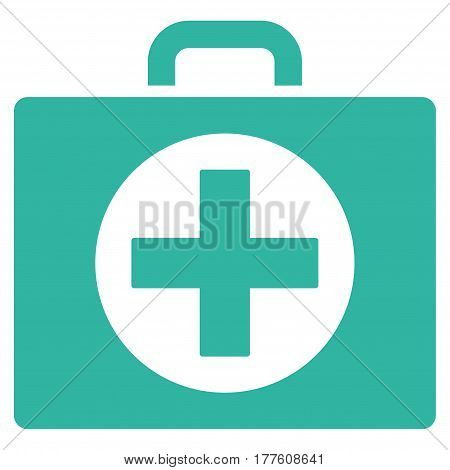 First Aid vector icon. Flat cyan symbol. Pictogram is isolated on a white background. Designed for web and software interfaces.