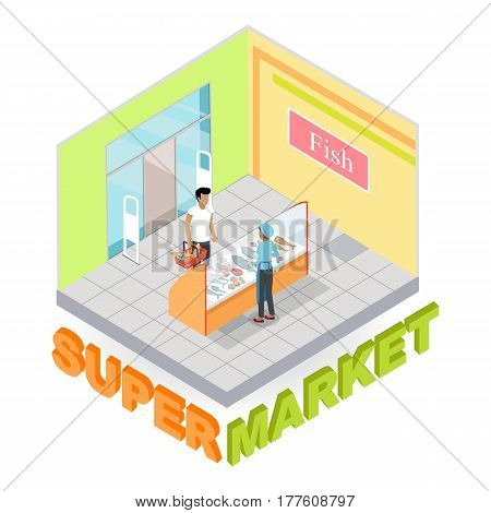 Supermarket fish department interior in isometric projection. Customers choosing goods in grocery store trading hall vector illustration. Daily products shopping concept isolated on white background