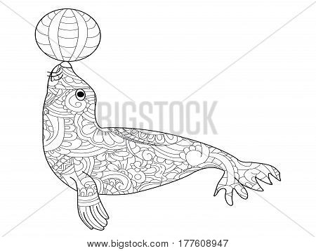 Fur seal with ball book for adults vector illustration. Anti-stress coloring for adult. Zentangle style. Black and white lines. Lace pattern