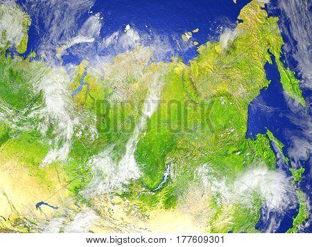 Siberia On Realistic Model Of Earth
