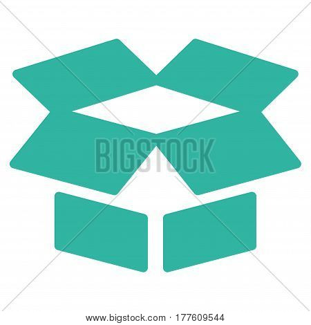 Open Box vector icon. Flat cyan symbol. Pictogram is isolated on a white background. Designed for web and software interfaces.