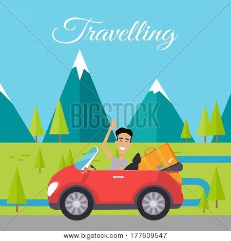 Traveling by car. Happy man waving while driving his car on background of mountain landscape. Happy tourist. Travel car with baggage. Smiling young man personage. Flat design vector illustration.