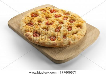 Apulian flat bread with tomatoes on cutting board