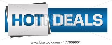 Hot deals text written over blue grey background.