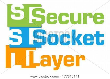 SSL Secured text written over colorful background .