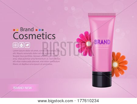 Luxury skin toner, bb cream or peeling scrub contained in tube, pink background. Cosmetic and organic makeup concept. Vector illustration